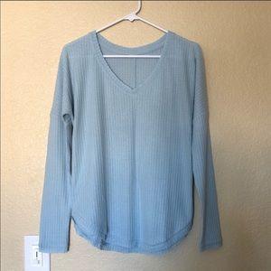 Light blue waffle v-neck long sleeve top